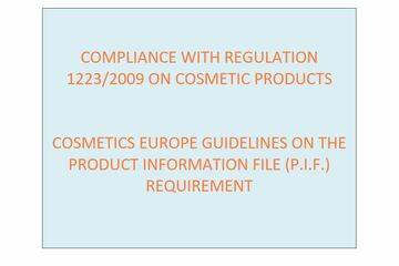 Guidelines on Product Information File (PIF) Requirement, 2015