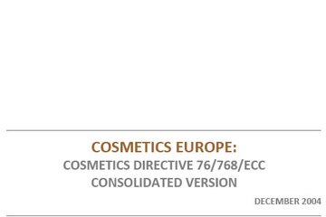 EU Cosmetics Directive - Consolidated version 2004